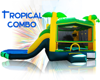 tropical combo inflatable slide